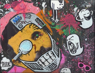 8X10 spray paint and mixed media on canvas