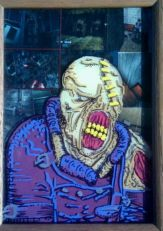5X7 plus frame. marker on glass with collage
