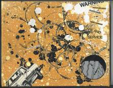 8X10 Spray paint and collage on canvas