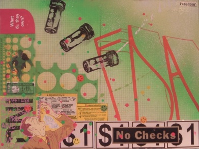 12X18 mixed media collage with spray paint and paint marker