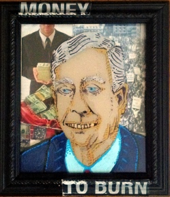 5X7 plus frame Paint marker on glass over collage